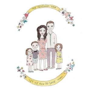 Jesses Mess custom family portrait AU$180 - Etsy