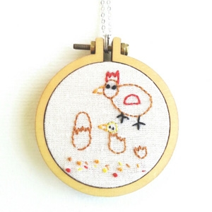Heartful Stitches personalized child's drawing embroidered pendant AU$45 - Etsy