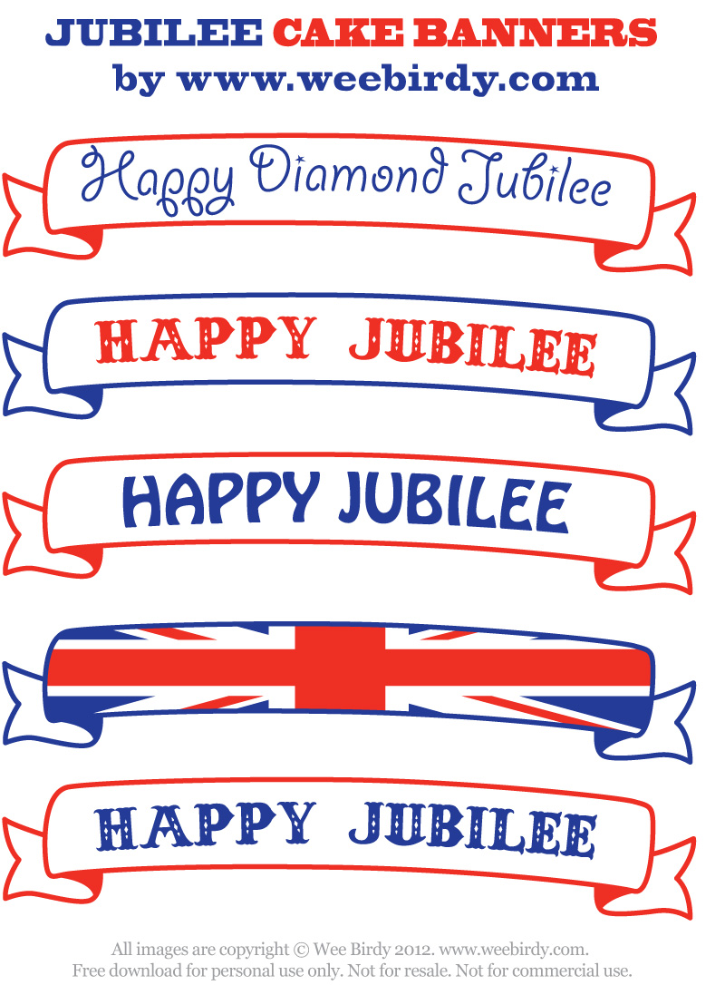 Wee Birdy free printable Jubilee cake banners