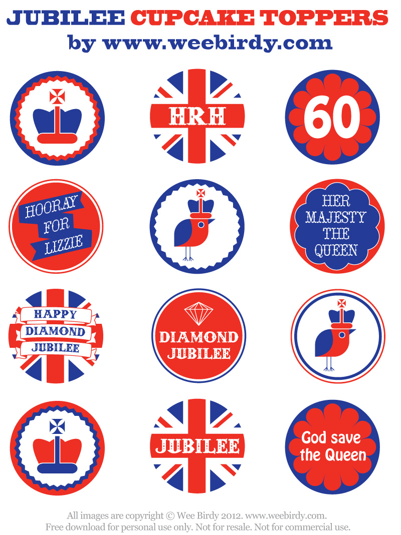 Wee Birdy free printable Jubilee cupcake toppers