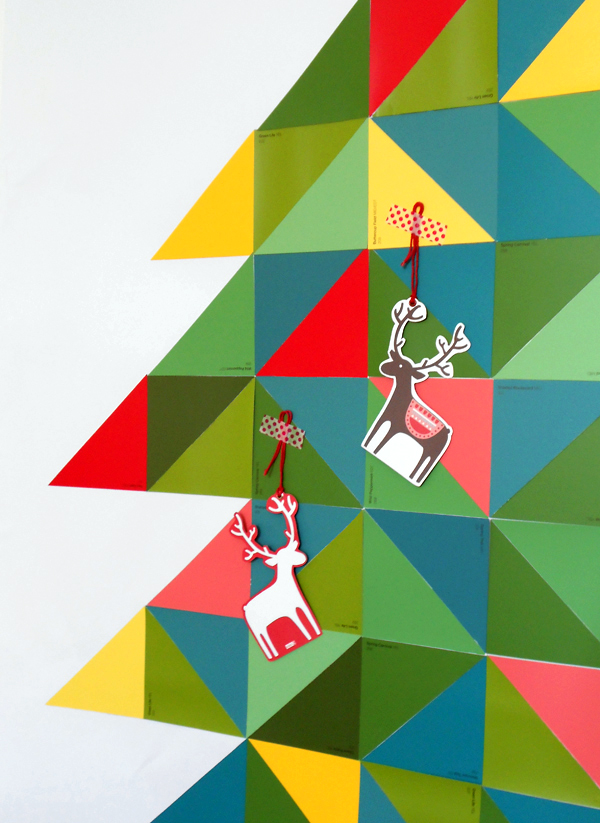 DIY paint chip Christmas tree wall hanging