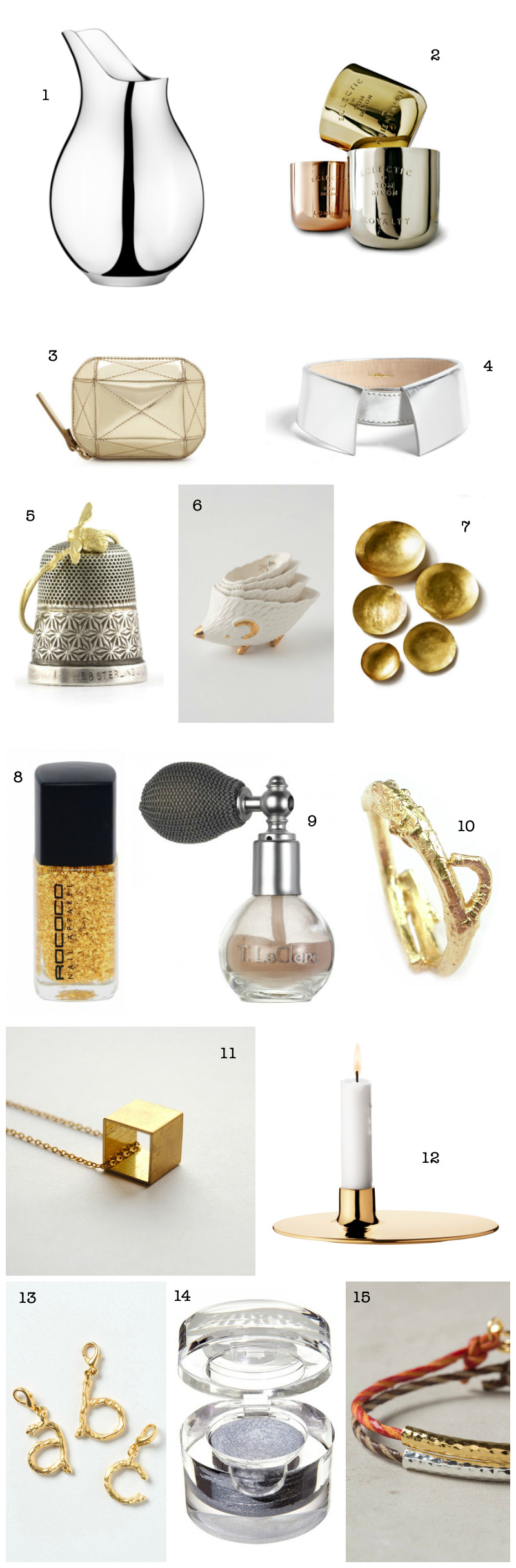 Christmas Gift Guide: Silver and Gold via we-are-scout.com