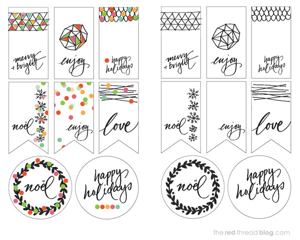 picture relating to Printable Christmas Tags Black and White titled PRINTABLES :: getaway present tags - We Are Scout