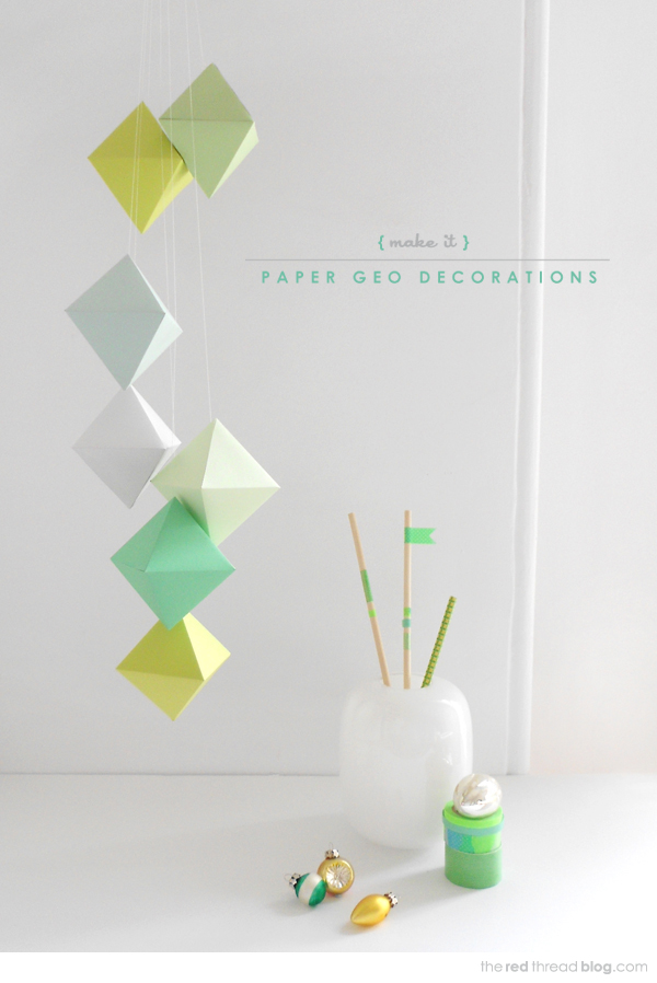 Geo Paper Christmas Decorations + Printable Template