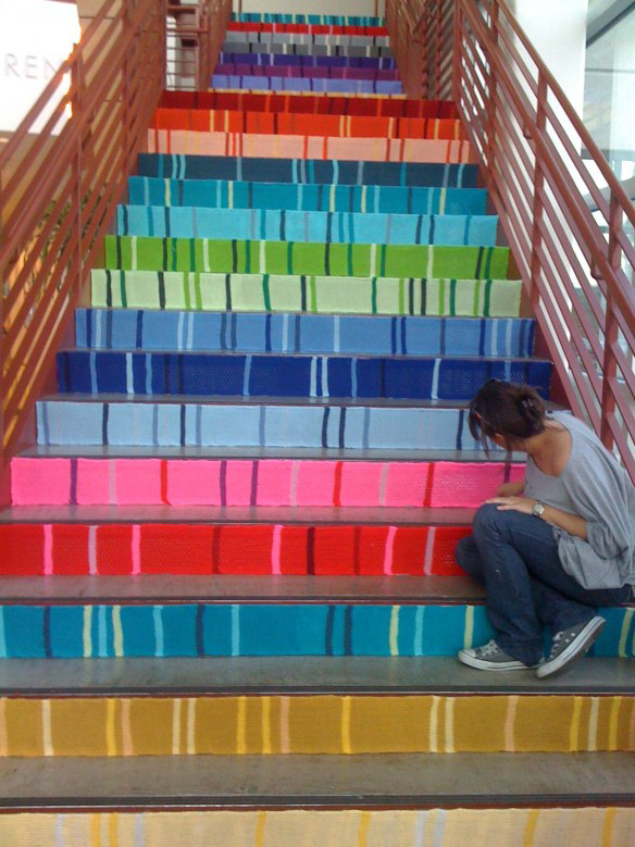Knitta stairs via the red thread