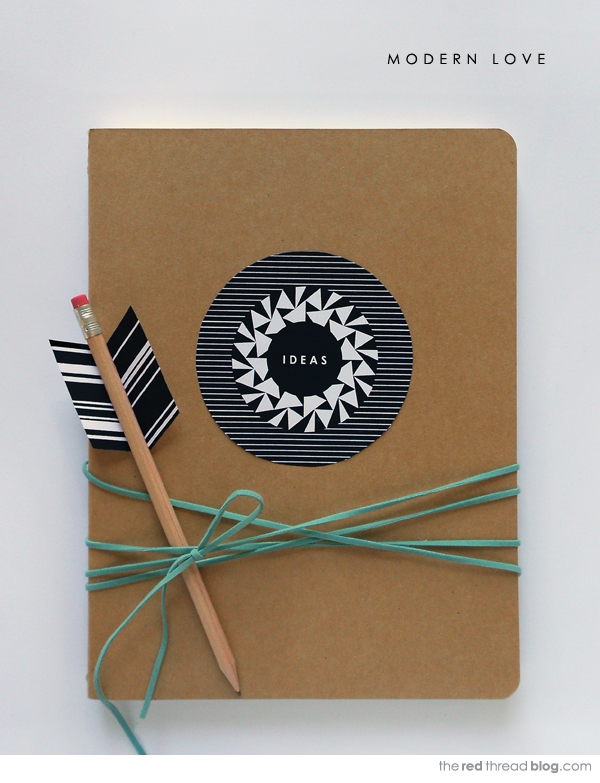 the red thread Valentine Notebook and Arrow Pencil Printable