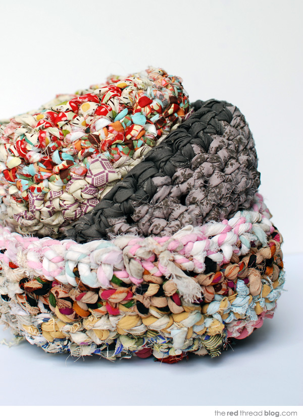 the red thread fabric crochet baskets stacked