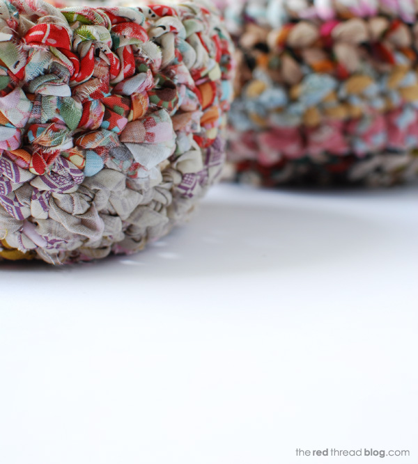 the red thread fabric crochet baskets texture