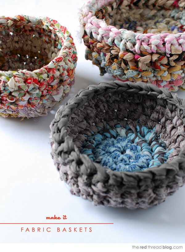 How to make crochet fabric bakets and make your own fabric yarn
