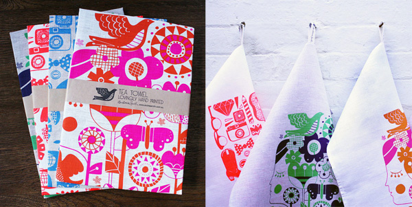 Andrea Smith tea towels via the red thread