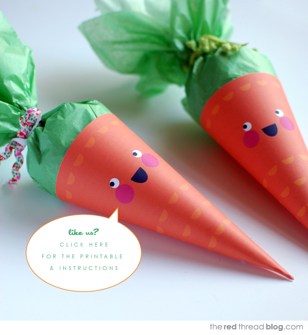 the red thread Easter carrot treat cones