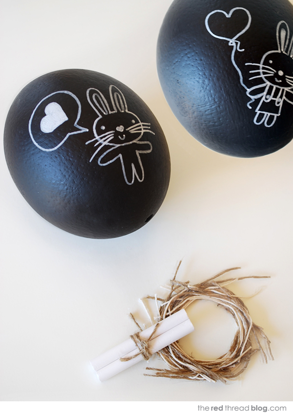 the red thread chalkboard eggs painted bunnies