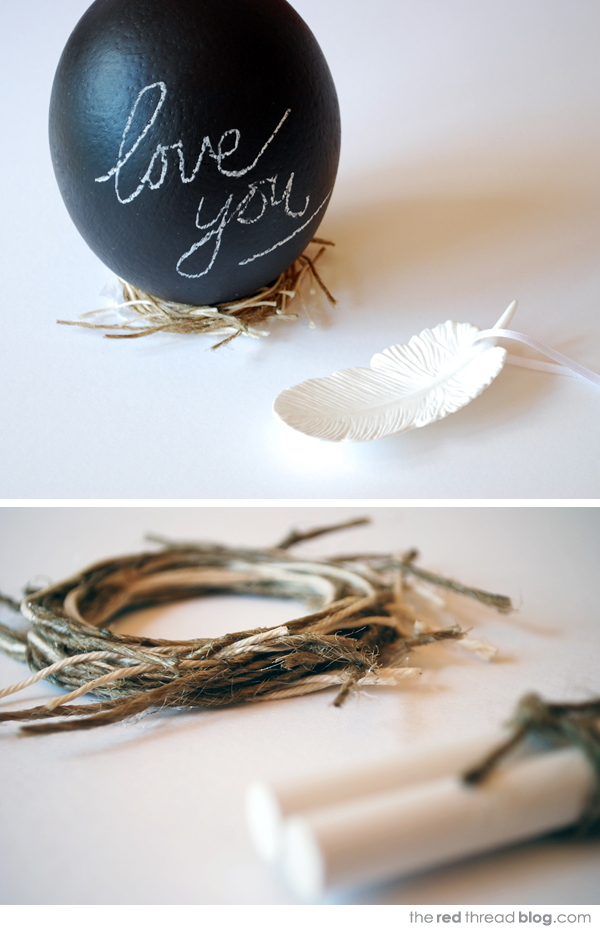 the red thread chalkboard eggs with nests