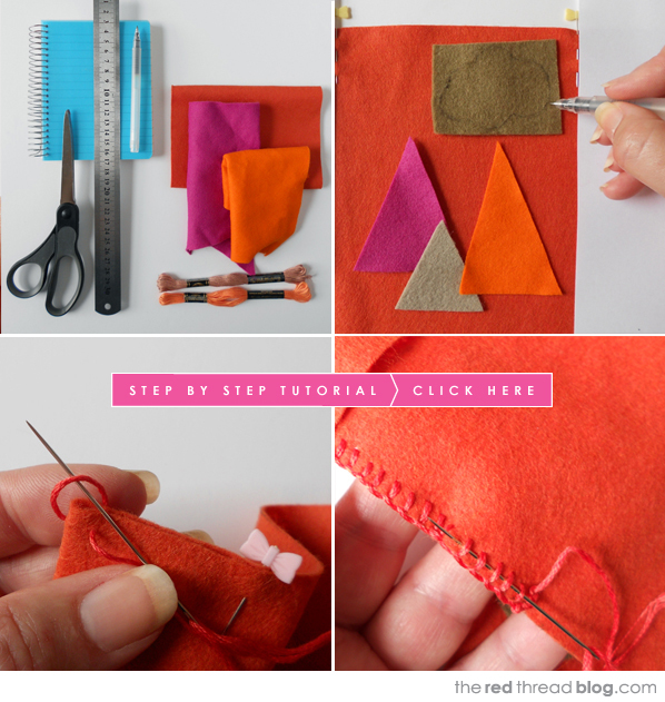 the red thread felt book cover tutorial