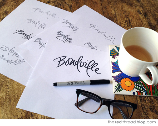Bondville Logo roughs via the red thread