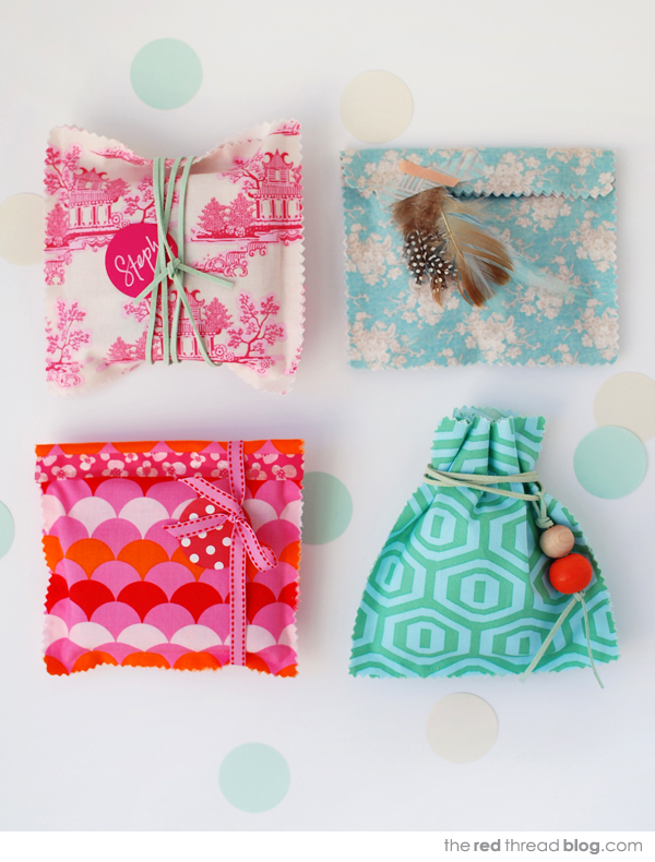 Tutorial make gorgeous no sew fabric gift bags we are scout the red thread fabric gift bags tutorial negle Image collections