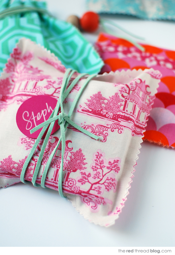 the red thread fabric gift bags