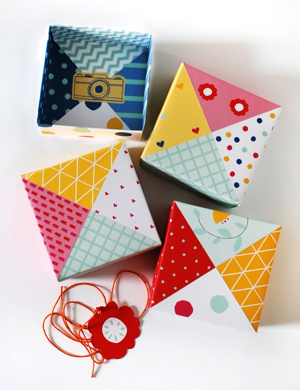 How to make patchwork origami gift boxes