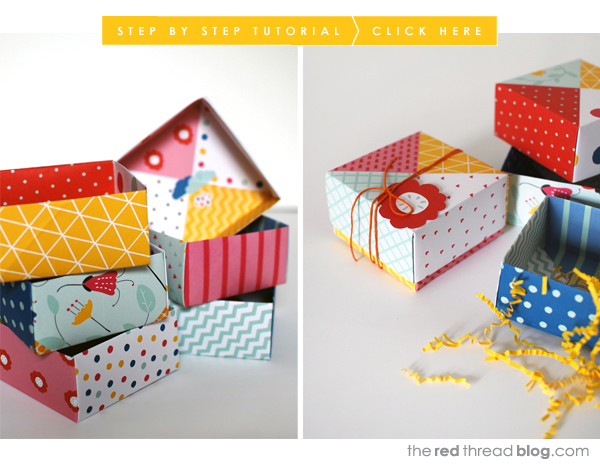 the red thread patchwork origami boxes