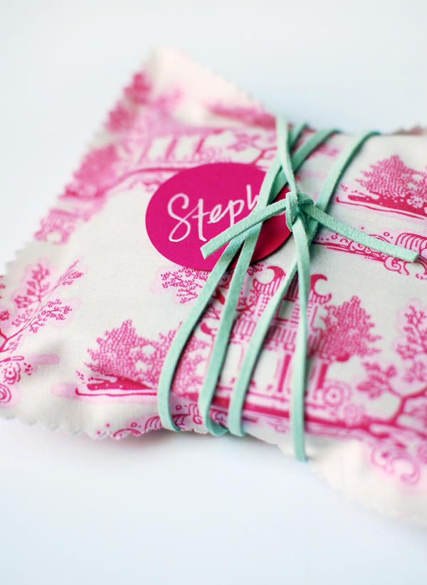 the red thread pink fabric gift bag
