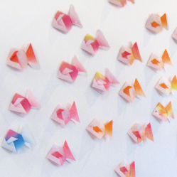 the red thread origami fish wall art