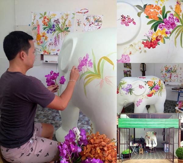 Chris Chun painting elephant via the red thread