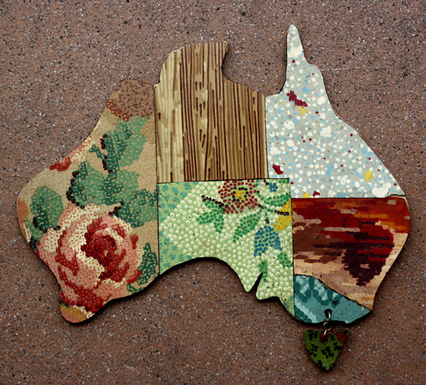 Betty Jo Designs Australian map via the red thread