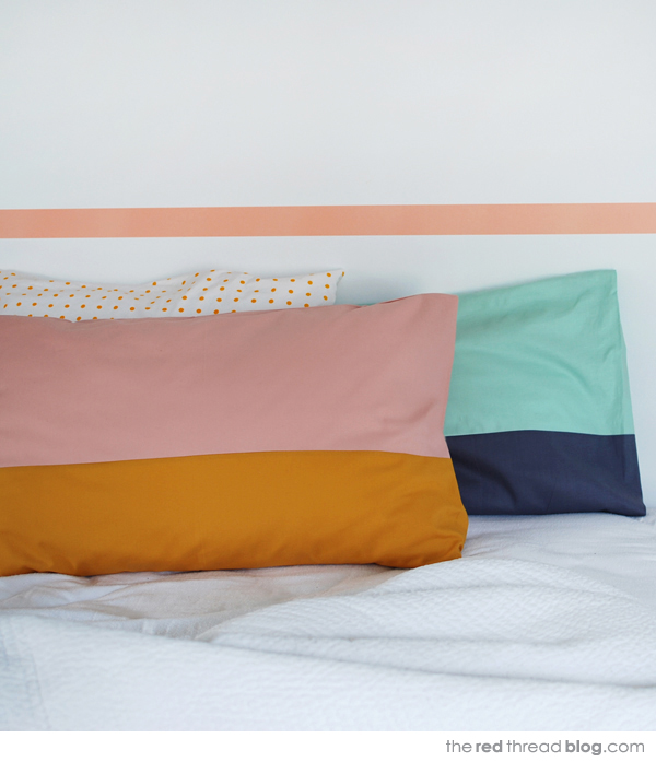 the red thread colour block pillow case
