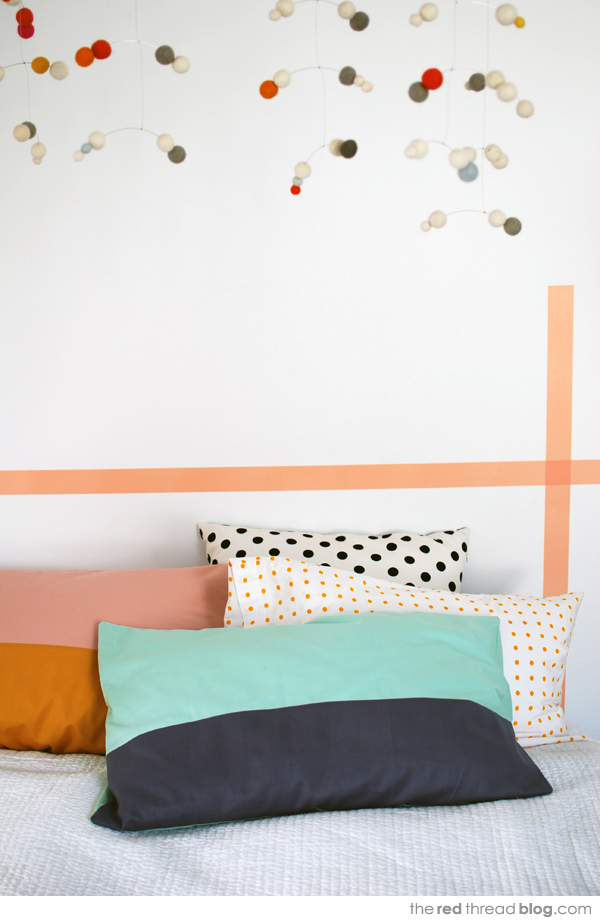 the red thread colour block pillowcases