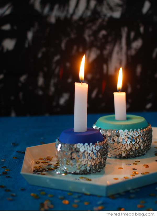 make sequin candle holders - the red thread