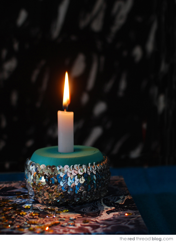 sequin candle holder tutorial - the red thread