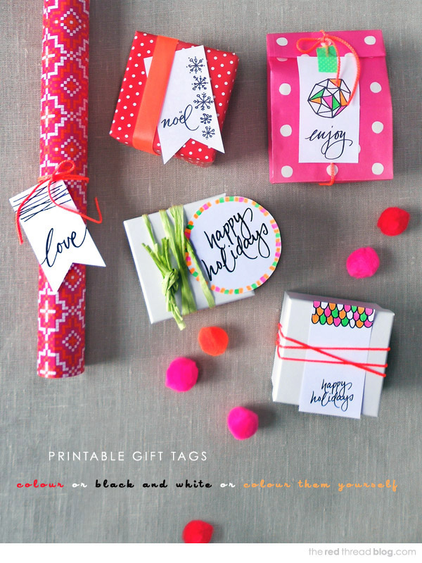 the red thread printable Christmas gift tags