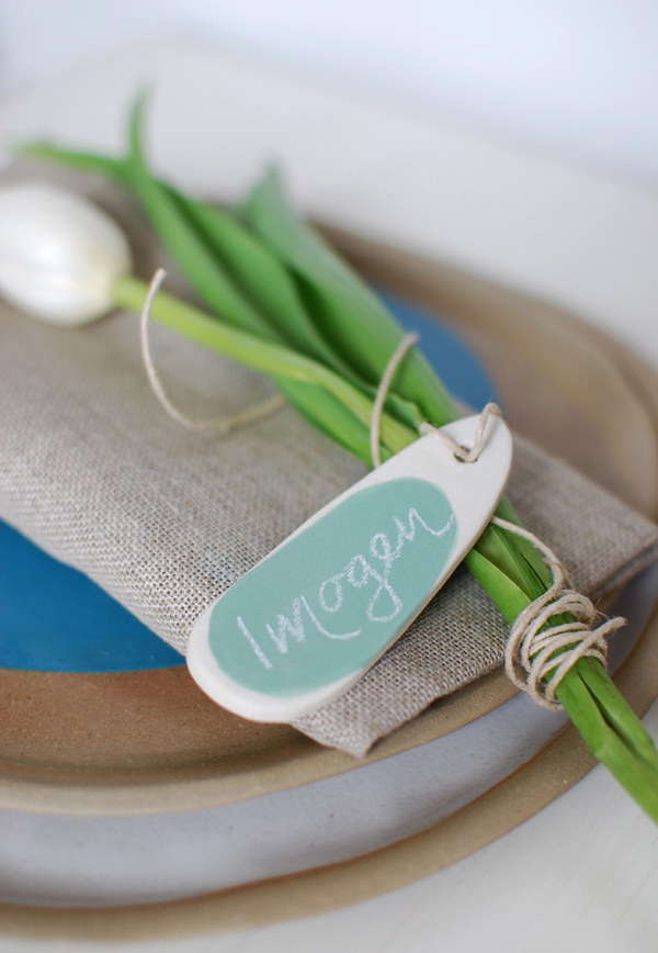 Kim Wallace Tags for table settings via the red thread