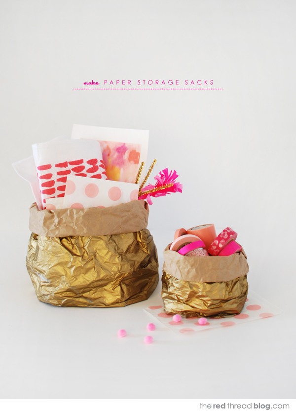 How to make gorgeous gold paper storage sacks :: tutorial on theredthreadblog.com
