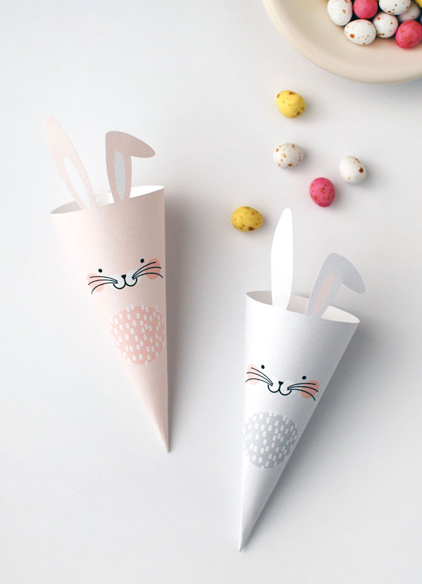 free printable easter bunny treat cones