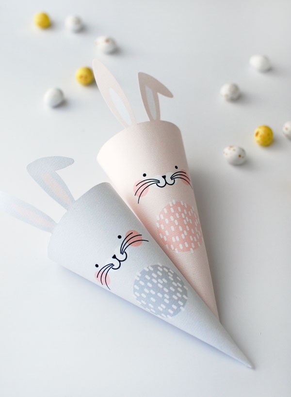 FREE PRINTABLE Easter bunny treat cones via We-Are-Scout.com.