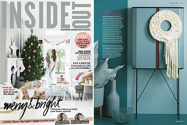 We Are Scout in Inside Out magazine. Woven woolen wreath by Lisa Tilse