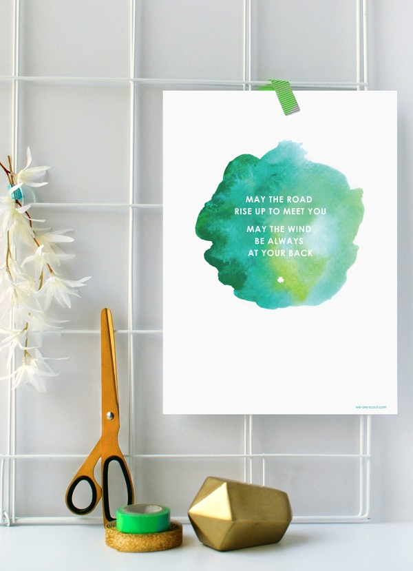 Free modern printable St Patrick's Day poster from we-are-scout.com