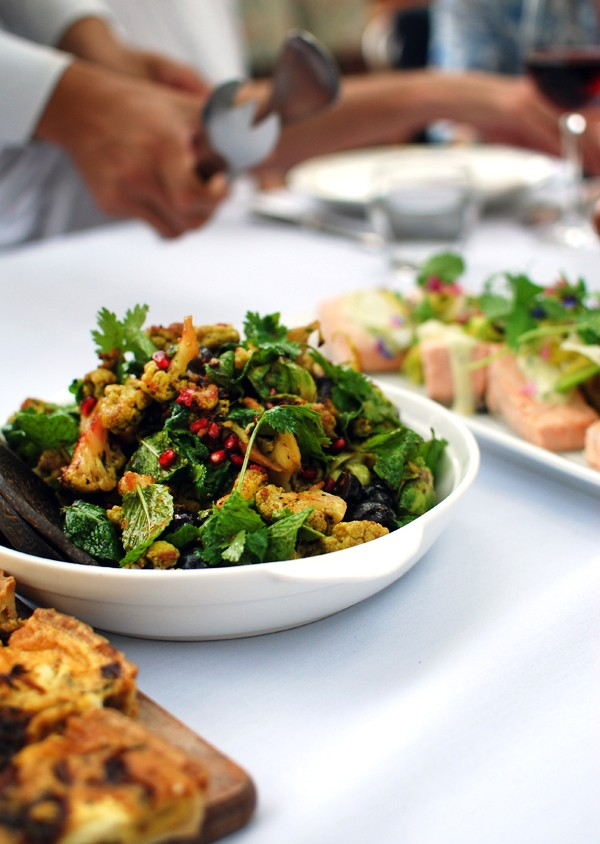 Salad of cauliflower, brussels sprouts, pomegranate, grapes and mint; poached Tasmanian salmon, dill aioli, shaved fennel and asparagus; and caramelised onion and goats cheese tart. Photo by Lisa Tilse for We-Are-Scout.com.
