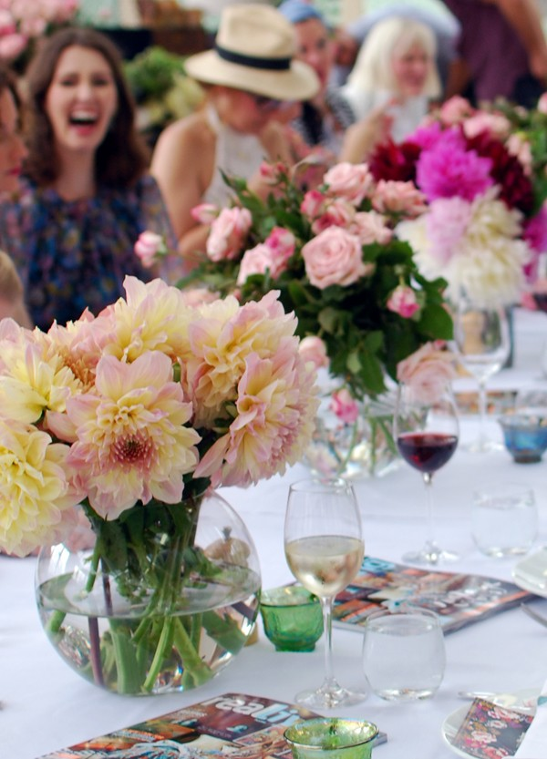 Beautiful blooms adorn the table at the launch of Real Living and Freedom's capsuale collection, via We-Are-Scout.com. Photo by Lisa Tilse for We Are Scout.