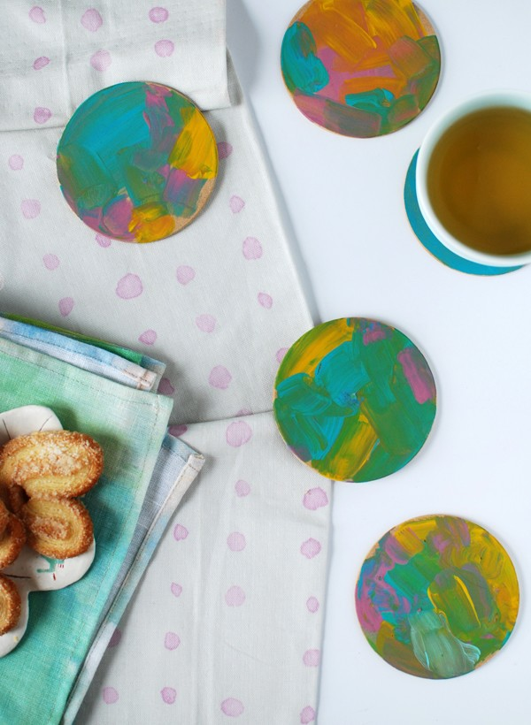 Abstract painterly coasters: 3 gorgeous last-minute Mother's Day crafts for preschoolers (or anyone, really), by Lisa Tilse/We Are Scout.