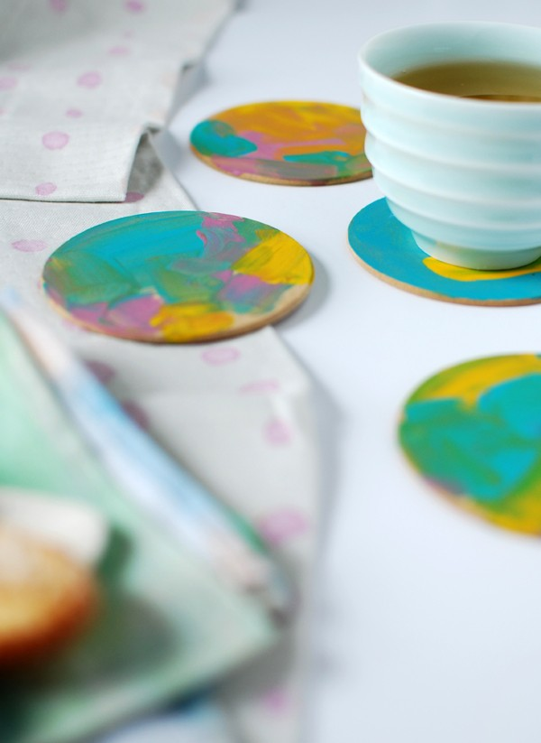 Abstract painterly coasters, from 3 gorgeous last-minute Mother's Day crafts for preschoolers (or anyone, really), by Lisa Tilse/We Are Scout.