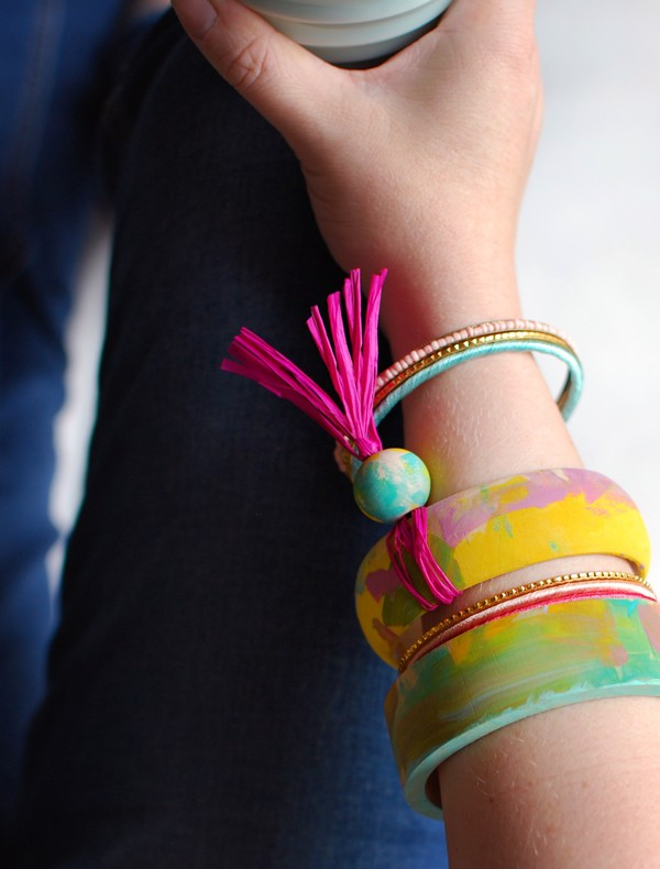 Painted wooden bangles, from 3 gorgeous last-minute Mother's Day crafts for preschoolers (or anyone, really), by Lisa Tilse/We Are Scout.