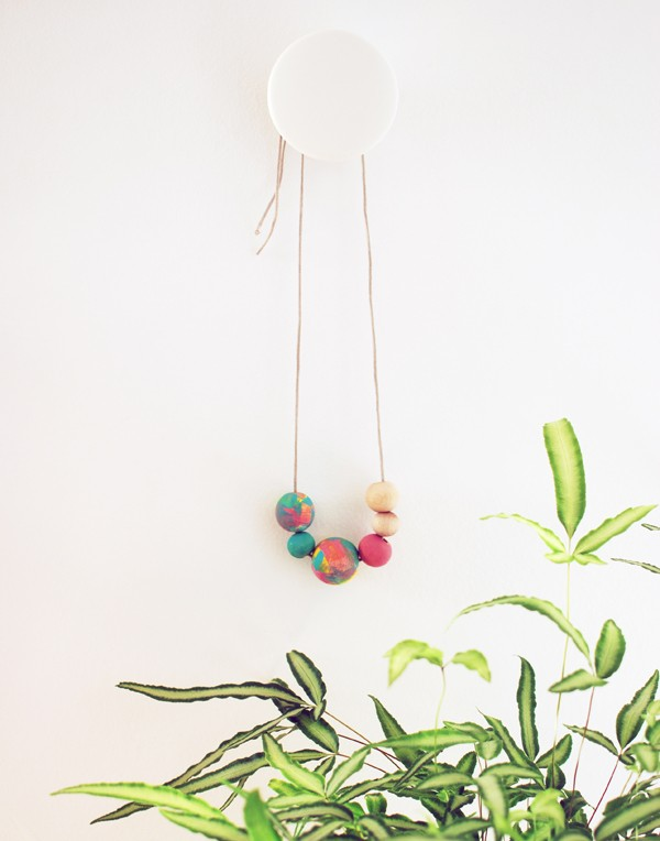 Abstract painted wooden necklace from 3 gorgeous last-minute Mother's Day crafts for preschoolers (or anyone, really), by Lisa Tilse/We Are Scout.
