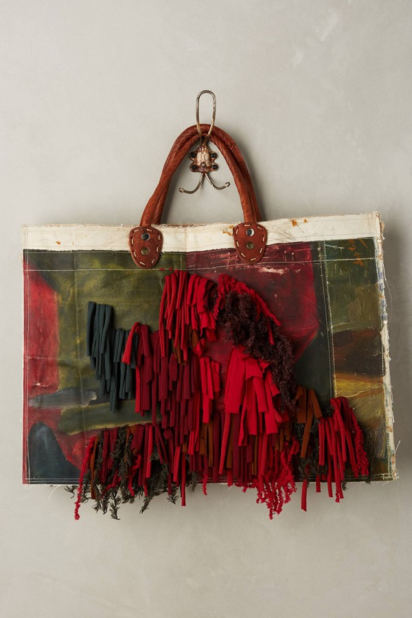 Leslie Oschmann one-of-a-kind Fringed Gaze tote bag for Anthropologie