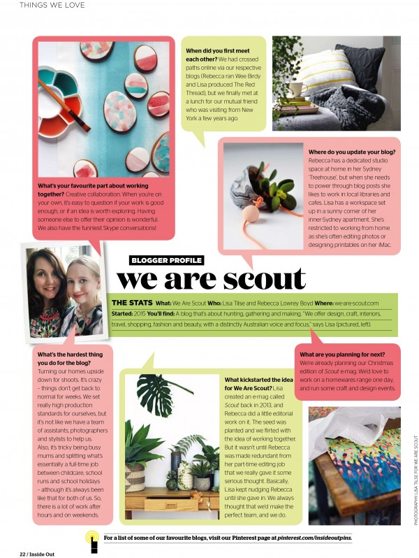 We Are Scout profile, in the July 2015 issue of Inside Out magazine.