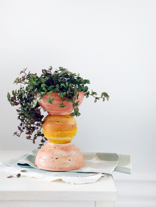 DIY ceramic lookalike totem planter and Ikea hack via We Are Scout