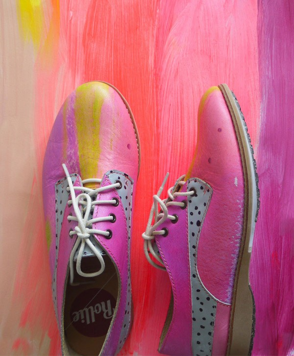 Melbourne artists Laura Blythman and Pete Cromer - aka Enemies Yay - have collaborated with Rollie to create a range of bespoke leather shoes