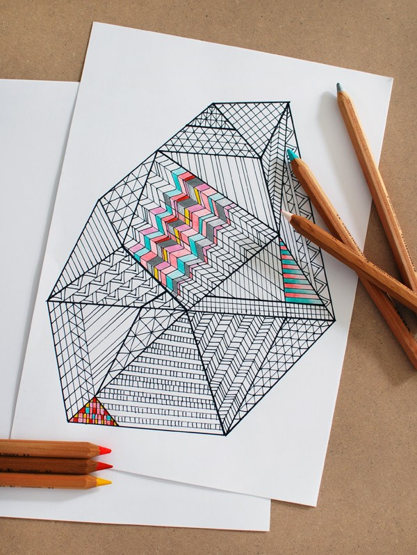 Lisa Tilse for We Are Scout - free printable Faceted Gem colouring page