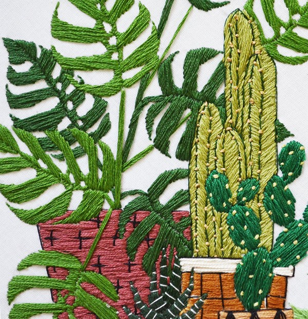 Sarah Benning's Potted Garden embroidered artwork, available to purchase from her Etsy shop.